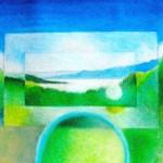 """Lake Mendocino""  (10 3/4""x8"")   Oil Pastel on Paper"